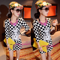 New 2014 Spring And Summer Handmade Drill Black And White Lattice Beauty Print Three Quarter Sleeve Slim One-piece Dress