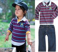 STZ038 5sets/lot,Top quality children clothing boys casual suit overshirt+tees+jeans 3pcs autumn baby long sleeve set wholesale