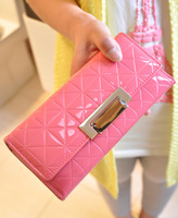 2013 women's wallet long design japanned leather dimond plaid elegant gem wallet clutch