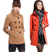 Free shipping 1pcs 2012 women's stand collar double breasted slim plus size outerwear fashion wool coat hot sale