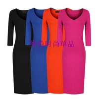 2013 New Arrival Womens Autumn Plus size Basic Joker cultivate dress Office lady  bodycon One -piece Pencil Dresses