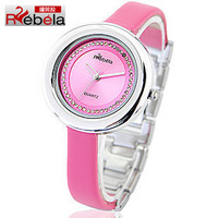 Watch pink elegant waterproof bracelet jelly ladies watch rhinestone genuine leather women's resin