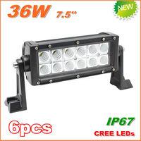 6pcs New 36W CREE LED Work Light  Bar 12V 24V IP67 Flood Spot beam For 4WD 4x4 Off road Light Bars TRUCK BOAT TRAIN BUS