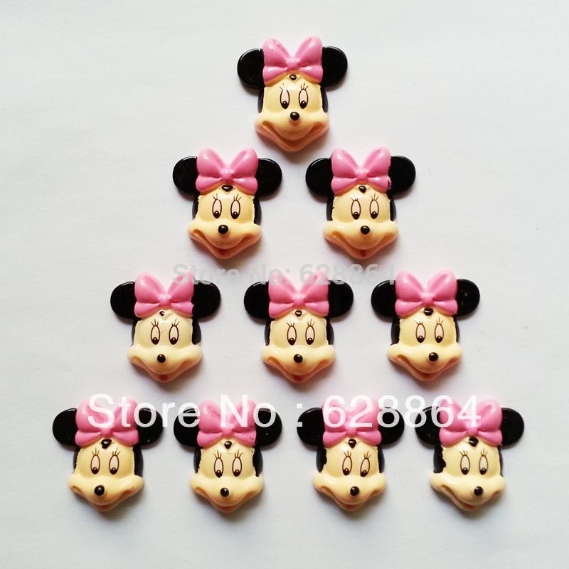 50 pcs bonito Minnie Mouse Pink Bow resina enfeites natator Flats Scrapbooking para cabelo arcos centro feito à mão artesanato DIY(China (Mainland))