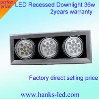 Led ventured lamp 36w grille 12w 3heads ceiling spotlights capitales ar111 beans energy saving lamp