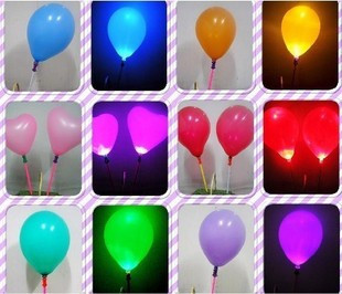 Free shipping Led lighting light emitting colorful circle balloon heart light balloon flash balloon luminous balloon show props(China (Mainland))