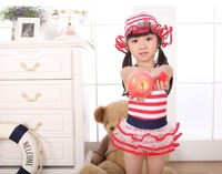 2013 New girl's striped Sailor Swimwears  baby Swim suits tutu Bathing suits children's Ruffle tutu Swim wear