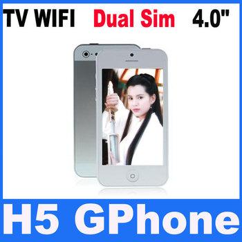 HOT WIFI TV i5 phone 5th 5S H5 5G Dual SIM Quadband 4.0 inch touch screen phone with Russian hebrew Polish menu free shipping