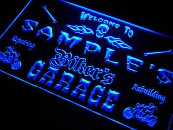 qu-tm Name Personalized Custom Biker's Garage Motorcycle Repair Bar Neon Sign