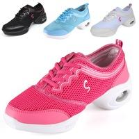 Dance shoes soft square dance shoes outsole gauze breathable dance shoes elevator shoes women's white modern dance shoes