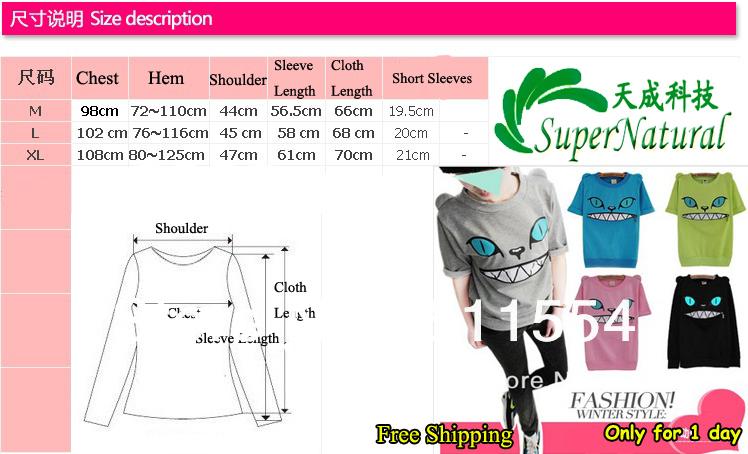 Free Shipping Factory direct Wholesale of Drop Shipping for Kawaii Women's Long sleeve's cat demon zipper T-shirt(China (Mainland))