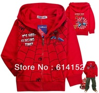 Hot sale 2013 NEW 6pcs/lot Spiderman kids coat children boys coat hoody cartoon Spring coat boy outwear jacket hoodies