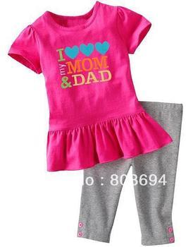 wholesale 2013 hot summer baby suit girl short sleeve suit short sleeve t shirt+stripe pant 5sets/lot  5026