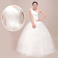 Free Shipping wedding dresses 2013 One Shoulder / Handmade Flower wedding gown Sweet Princess  bridal dress bandage dress