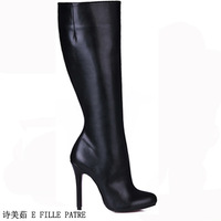 China's Winter fashion Red bottom pointed toe black high heeled martin boots high boots High quality Design perfect cheap autumn