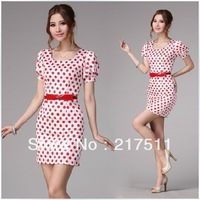 Free Shipping 2013 Summer Women Work Lady OL Dress Red Dot Soft Satin Puff Sleeve Slim Waist Lovely Square Collar Dress 10088