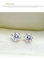 ZYE036 Clear Stud Earring 18K K Gold Plated Stud Earrings Jewelry Made with Genuine SWA ELEMENTS Austrian Crystal Wholesale