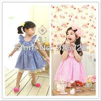 Free shipping 5pc/lot Korean Style Summer Fashion Big Ruffles Collar Sleeveless Plaid Girl Dress / Dresses For Kids 13138