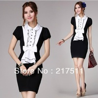 Free Shipping 2013 Summer Women Vintage Retro Office Lady OL Dress Slim White And Black Patchwork Pleating Bow Shirt Dress 10053
