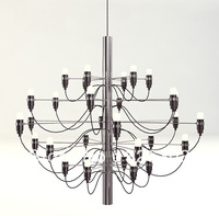 Arteluce Gino Sarfatti designed 2097 Chandelier 50 bulbs lamp