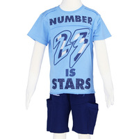 Boy t shirt top and pant short sport for summer 2013 children clothing set blue navy size 6-14 wholesale 2481K1 Free Shipping