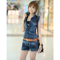 A2013 split pants summer bodysuit denim vest low-waist denim set jumpsuit