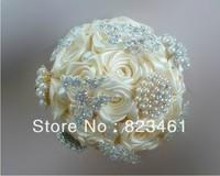 EMS Free Shipping Art Handmade Pearl Ribbon Ivory Brooch Bouquet Shining Brooch Bride Bouquet Wedding Hold Flower