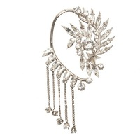 New Shiny  Silver Plated Crystal Ear Cuff Earring Dangle Chain Floral Star Punk Celebs Fashion Wholesale Free Shipping Jewelry