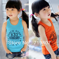Free shipping 2013 male female child candy color vest letter vest 5 pieces/lot