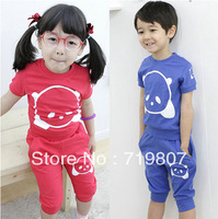 Free shipping Summer child 2013 male female child set candy color set short-sleeve set 5 sets/lot