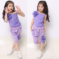 Free shipping   2013 summer child girls clothing 2 flower set