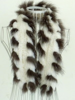 FS969006 White Genuine Rabbit  Fur Silver Fox Fur  Scarf  Poncho Cape Shawl  Hand Knitted  Top OEM Wholesale/ Retail