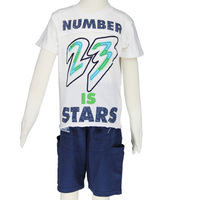 Children t shirts for boy and children pants short boy set summer 2014 wholesale size 6-14 white  2481K5 Free Shipping
