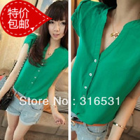 Chiffon Summer Short-Sleeve Shirt Women's V-neck Slim Top all-Match Chiffon Shirt Female