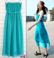 Tube top tube top bohemia chiffon one-piece dress midguts skirt princess dress strapless high waist perspective skirt