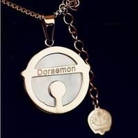 Amadora a necklace tinker bell DORAEMON rose gold titanium steel shell necklace 18k rose gold necklace