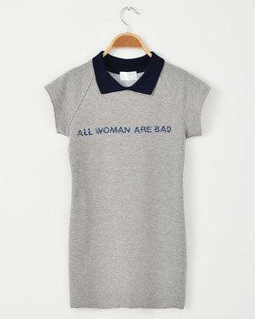 Nda POLO sty letter collar slim hip tennis ball one-piece dress