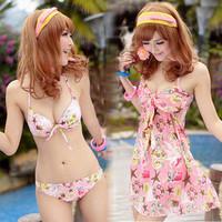 Hot spring swimwear female small push up bikini belt tulle dress piece set lovers swimwear  FREE SHIPPING