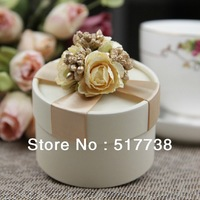 100pcs Wedding Favors Candy Box Party Gift Boxes Champagne Ribbon Flower Jar Supplies Free Shipping