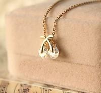 new fashion  rose gold pendant zircon cherry short design necklace female chain D0087