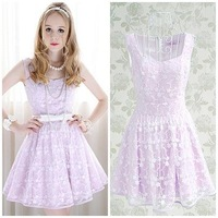 2013 purple lace white patterns patchwork evening A-line lovely knee-length night sleeveless club party dress