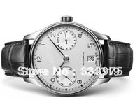 Brand automatic Portuguese mens Mechanical Watches black leather band silver case white dial IW08