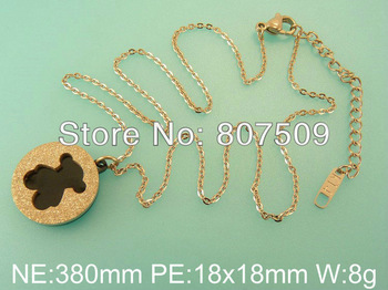Stainless Steel Rose Gold Bear Pendant With Necklace Wholesale Accessories Vintage Jewelry For Women Supernova Sales  P2E4113