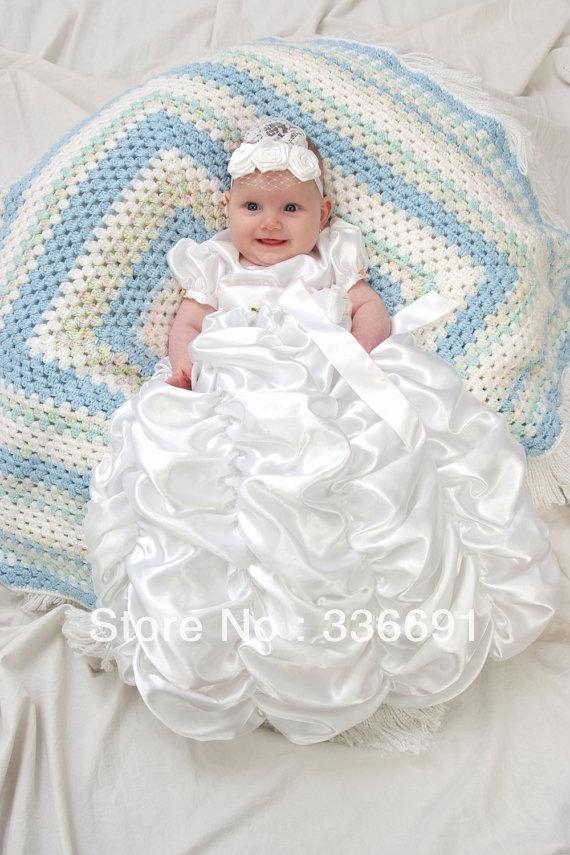 Baptism jewel white baby girls lovely christening gown dress baptism
