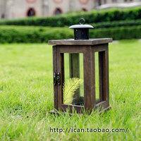 Unique gift vintage candle table retro wood finishing lantern fashion iron glass lantern
