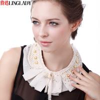 2014 spring girl elegant collar pearl lace false collar lace collar necklace women