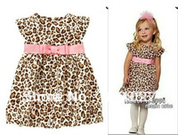 Free shipping 2013 summer pink Western style belt fly sleeve leopard dress, girls clothes Casual Dresses