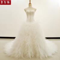 Luxury big long trailing beading paillette strap princess wedding dress formal dress summer new arrival 2013