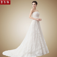 Luxury vintage lace wedding dress full tube top bandage a brief 2013 train bride dress new arrival