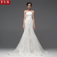 Slim full lace fish tail train fashion lace tube top bandage the bride wedding dress formal dress new arrival 2013